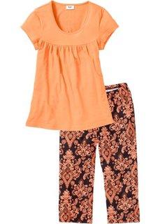 Пижама-капри (оранжевый/черный) Bonprix
