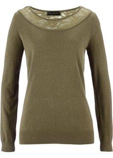 Пуловер (зеленый хаки) Bonprix