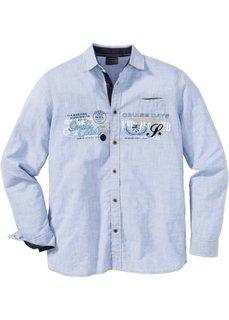 Рубашка Regular Fit с длинным рукавом (нежно-голубой в полоску) Bonprix