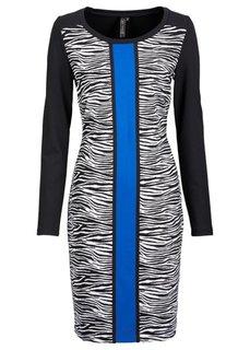 Платье (черный с принтом зебры/экрю/синий) Bonprix