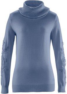 Пуловер с вязаным кружевом ПРЕМИУМ (индиго) Bonprix
