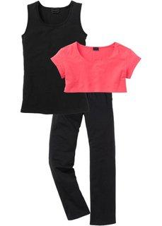 Пижама 3 в 1 (нежный ярко-розовый/черный) Bonprix