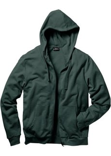 Трикотажная куртка стандартного покроя с капюшоном (темно-зеленый) Bonprix