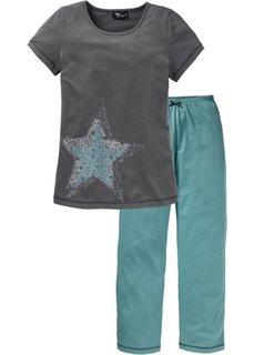 Пижама (синий/серый с принтом) Bonprix