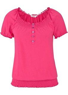 Футболка с эластичным поясом (короткий рукав) (ярко-розовый) Bonprix