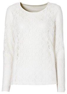 Кружевная футболка (цвет белой шерсти) Bonprix