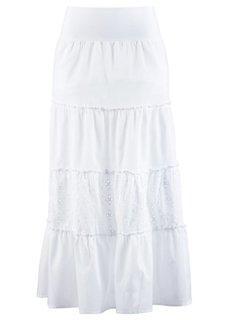 Ступенчатая макси-юбка (белый) Bonprix