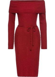 Платье с вырезом-кармен (темно-красный) Bonprix