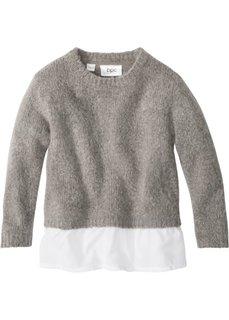 Вязаный пуловер с воланом (светло-серый меланж/белый) Bonprix