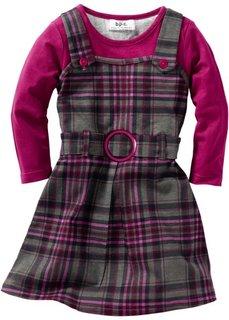 Платье-сарафан 2 в 1 (антрацитовый/ягодный в клетку) Bonprix