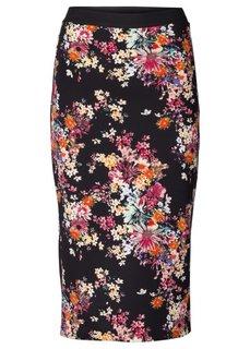 Юбка из неопренового трикотажа (черный/розовый в цветочек) Bonprix