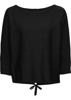 Пуловер с разрезом на спине (черный) Bonprix