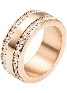 Кольцо из благородной стали со стразами (розово-золотистый) Bonprix
