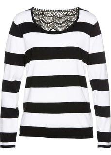 Пуловер с кружевной отделкой (черный/белый в полоску) Bonprix