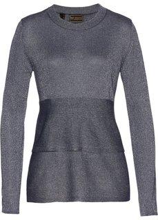 Пуловер с баской (темно-синий) Bonprix