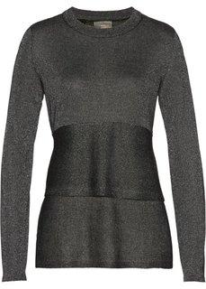 Пуловер с баской (черный) Bonprix