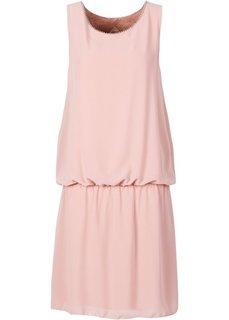 Трикотажное платье с шифоном (розовый) Bonprix