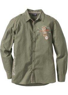 Рубашка Regular Fit с длинным рукавом (оливковый) Bonprix