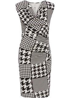 Платье с принтом гусиная лапка (белый/черный с узором) Bonprix