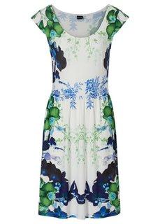 Трикотажное платье (цвет белой шерсти/синий с рисунком) Bonprix