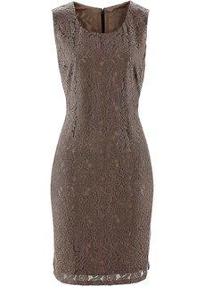 Кружевное платье без рукавов (бурый) Bonprix