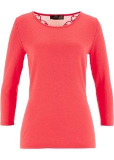 Пуловер с кружевной отделкой (омаровый) Bonprix