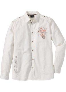 Рубашка Regular Fit с длинным рукавом (кремовый) Bonprix