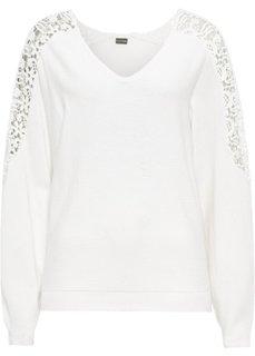 Пуловер с кружевной отделкой (кремовый) Bonprix