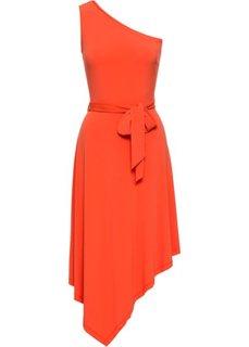 Платье на одно плечо, в талии пояс (оранжевый) Bonprix