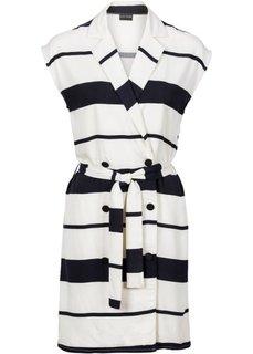 Платье в деловом стиле (цвет белой шерсти/черный в полоску) Bonprix