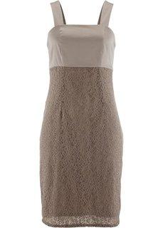 Платье с кружевом (серо-коричневый) Bonprix