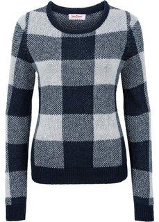 Пуловер (синий в клетку) Bonprix
