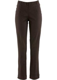 Прямые брюки стретч без застежки, низкий рост (K) (темно-коричневый) Bonprix