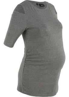 Футболка с коротким рукавом, для беременных (серый меланж) Bonprix