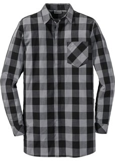 Рубашка Regular Fit с длинным рукавом (черный/серый в клетку) Bonprix