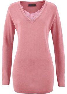 Удлиненный пуловер с кружевом (пепельно-розовый) Bonprix