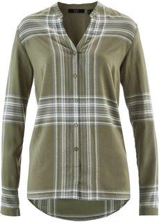 Клетчатая рубашка с длинным рукавом (оливковый в клетку) Bonprix