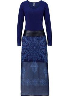 Платье с длинным рукавом (синий) Bonprix