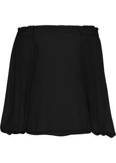 Блузка из креп-шифона (черный) Bonprix