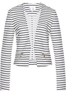 Пиджак из трикотажа (белый/черный в поперечную полоску) Bonprix