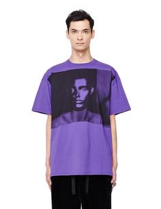 Фиолетовая футболка с принтом RAF Simons