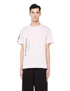 Розовая хлопковая футболка с принтом RAF Simons