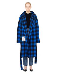 Синее пальто-халат в клетку Vetements
