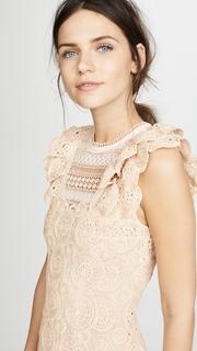 Jonathan Simkhai Macrame Ruffle Mini Dress