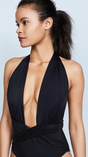 OYE Swimwear Roman Plunge Neck One Piece