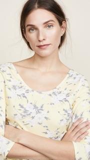 Rebecca Taylor Long Sleeve Lemon Rose Jersey Top