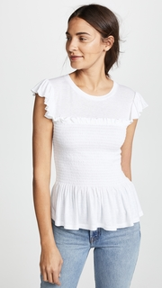 Rebecca Taylor Smocked Jersey Top
