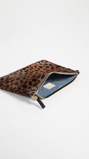 Clare V. Leopard Flat Haircalf Clutch
