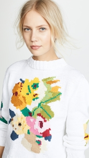 SMYTHE Floral Intarsia Crew Sweater