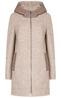 Полушерстяное пальто с капюшоном Elema